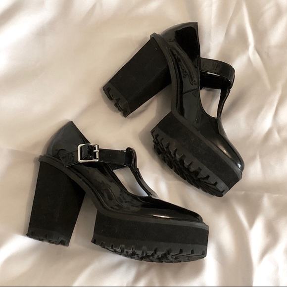 568bae7dfc4 Shellys London Clunky Goth Platforms Mary Janes